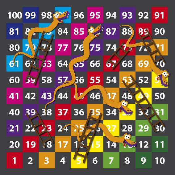 1-100 Snakes & Ladders  3m x 3m Half & Half