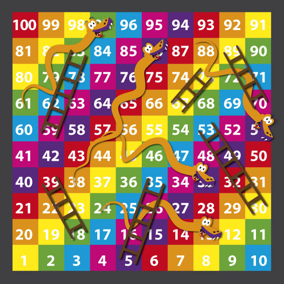 1-100 Snakes & Ladders 3m x 3m Solid