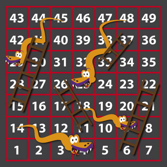 1-49 Snakes & Ladders  2.8 x 2.8 Outline