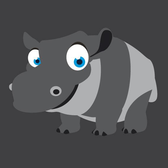 Hippo 1m x 1m