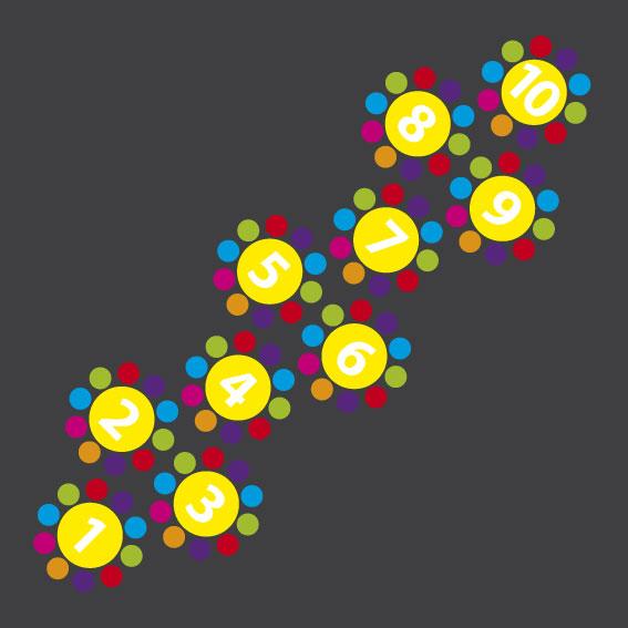 Flower Hopscotch 2- 3.2m x 0.8m