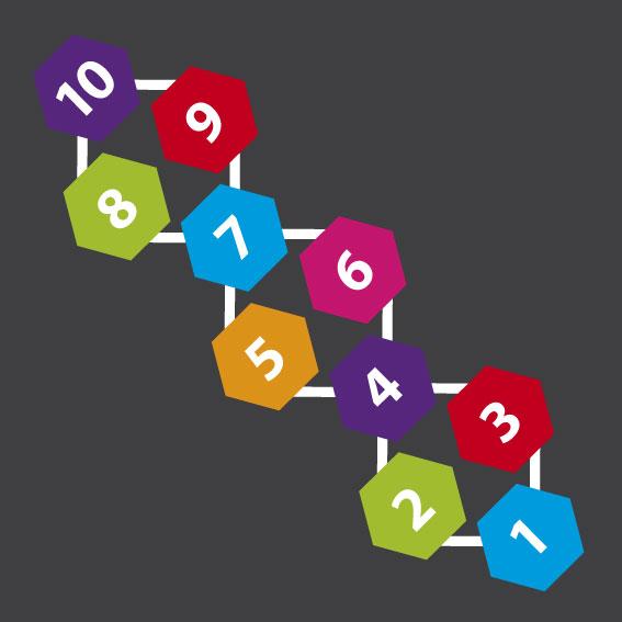 Hexagon Hopscotch 2.1m x 0.8m